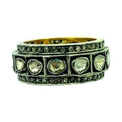 1.52Ct Old Mine Cut 'Polki Diamond' Ring Band Oxidized Sterling Silver, 14K Gold