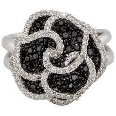 1.53 Carat Black and White Diamond Rose Ring 14 Karat in Stock