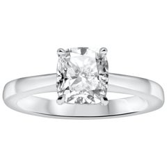 1.53 Carat Cushion Cut Diamond Solitaire Engagement Ring