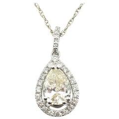 1.53 Carat Diamond 14 Karat White Gold Pendant Necklace