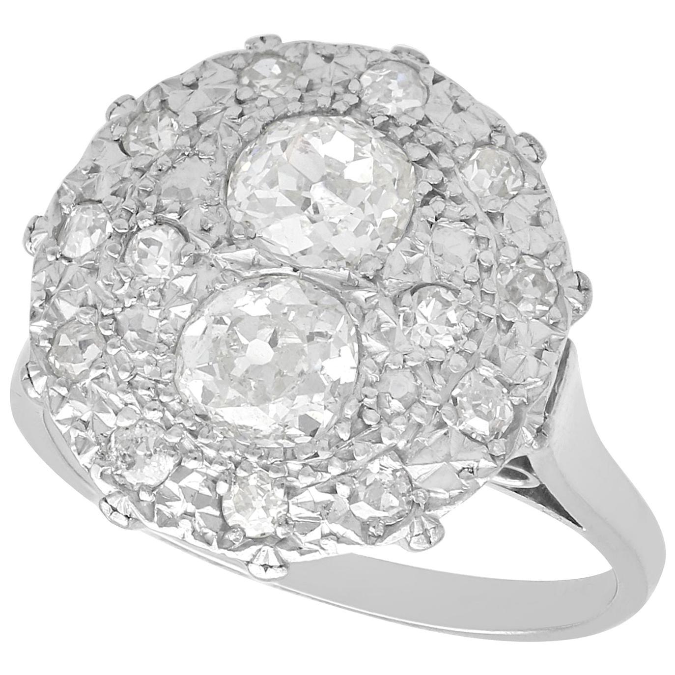 1.53 Carat Diamond and Platinum Cocktail Ring Vintage, circa 1950