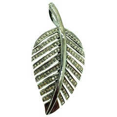 1.53 Carat Diamond Feather Pendant in Sterling Oxidized Silver