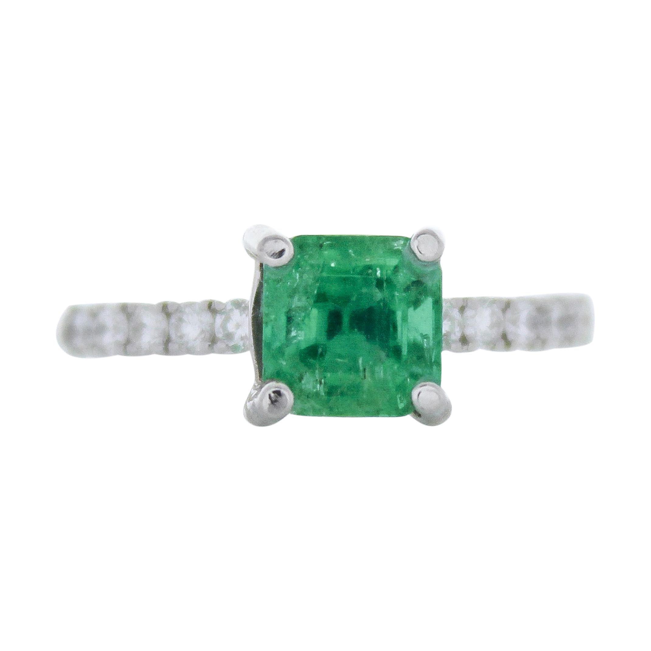 1.53 Carat Emerald Cut Square Emerald & Diamond Ring in 18K White Gold