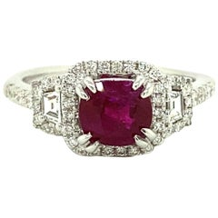 1.53 Carat GIA Certified Unheated Vivid Red Burmese Ruby and Diamond Gold Ring