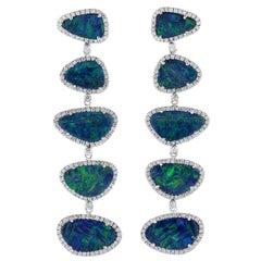 15.3 Carat Opal 18 Karat White Gold Tiered Drop Diamond Earrings