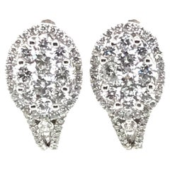 1.53 Carat Oval Shape Round Diamond Earrings with Round Halos