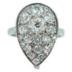 1.53 Carat Pear Shaped Diamond Ring, Cluster Style, White Gold