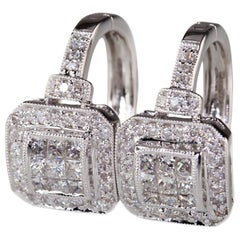 1.53 Carat Princess Cut Diamond Plaque Hoop Earrings in White Gold with Accents