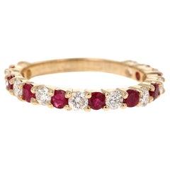 1.53 Carat Ruby Diamond 14 Karat Yellow Gold Band
