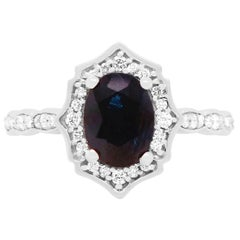 1.53 Carat Oval Sapphire Vintage Halo Engagement Ring 14K White Gold