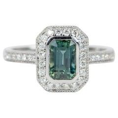1.53 Carat Teal Blue Sapphire Diamond Halo 14 Karat White Gold Ring AD1935-2