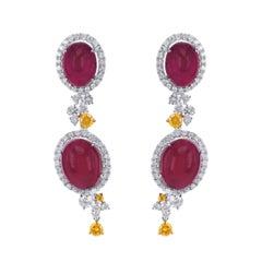 15.3 Carat Vivid Red Ruby 1.98 Carat Vivid Yellow & White Diamond Dangle Earring