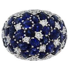 15.30 Carat Sapphire Diamond Dome Ring
