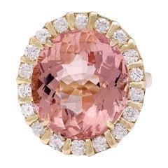 15.31 Carat Morganite 18 Karat Solid Yellow Gold Diamond Ring