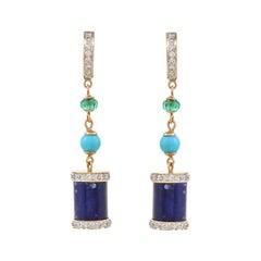 15.32 Carat Lapiz Lazuli Arizona Turquoise Emerald Bead Drop Earring
