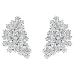 15.35 Carat Fancy Shape Diamond Cluster Clip-On Earrings