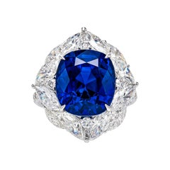 15.35 Carat Royal Blue Sapphire and Diamond Ring in 18k White Gold