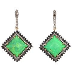 15.37 Carat Turquoise Diamond Earrings