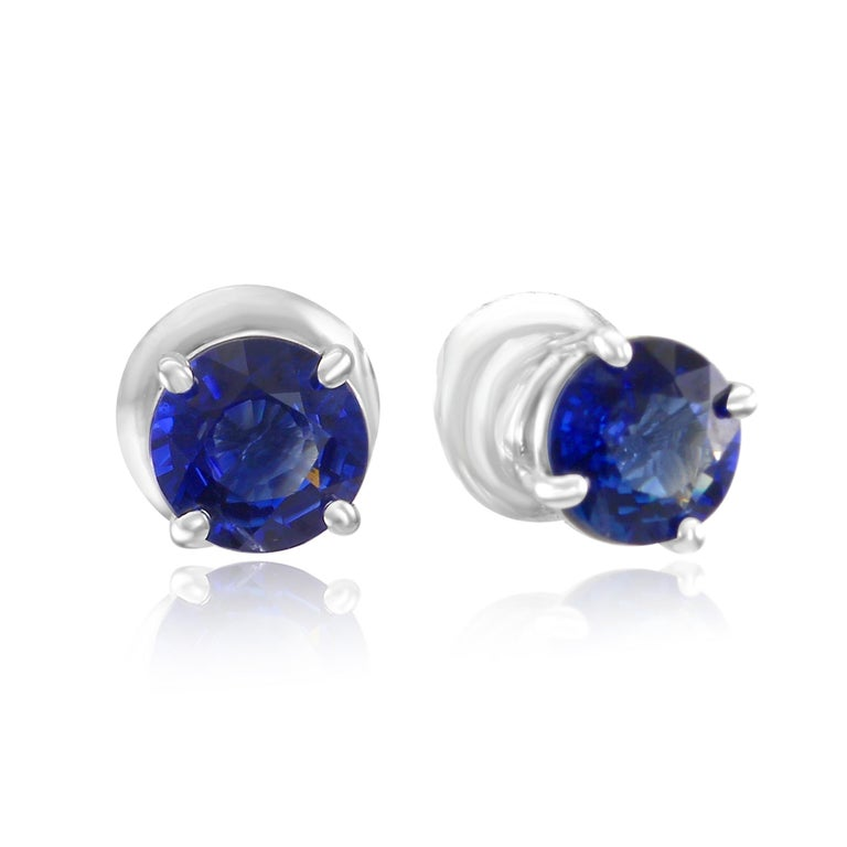 2 Fine Quality Blue Sapphire Round 1.54 Carat Total Weight set in Gorgeous Classic 4 Prong 14K White Gold Stud Earring.  MADE IN USA Total Blue Sapphire Weight 1.54 Carat  Style available in different price ranges and with different center stones in