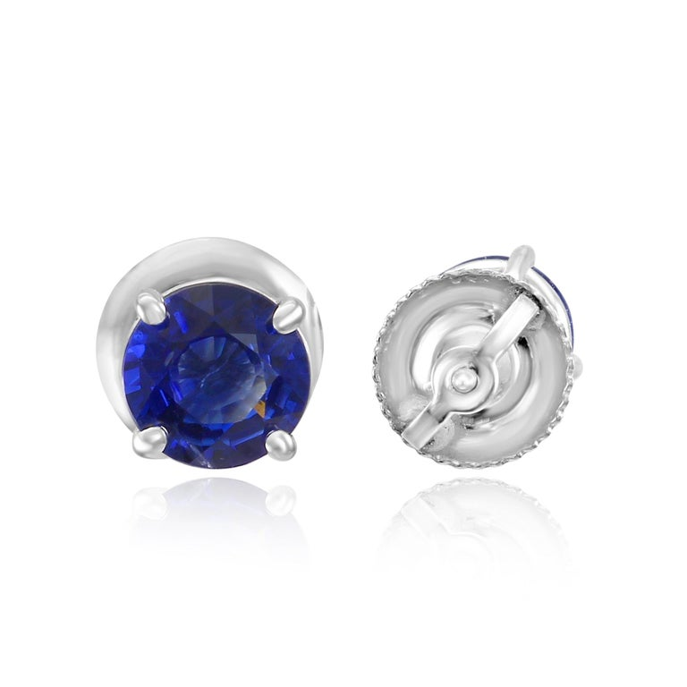 Round Cut 1.54 Carat Blue Sapphire Round 14K White Gold Screw Back Stud Earrings For Sale