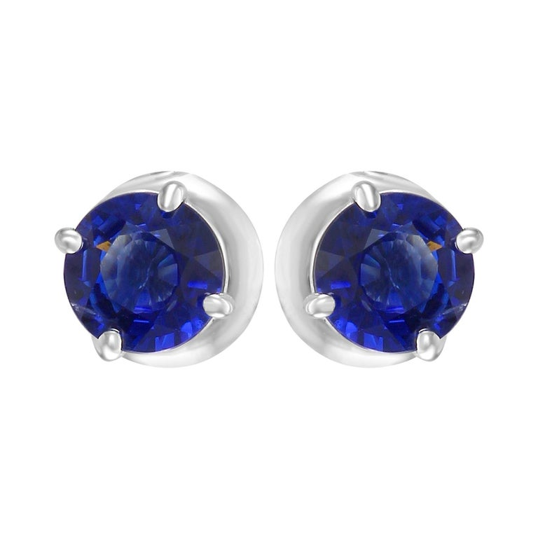1.54 Carat Blue Sapphire Round 14K White Gold Screw Back Stud Earrings For Sale