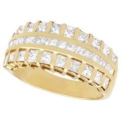 1990's 1.54 Carat Diamond Yellow Gold Cocktail Ring
