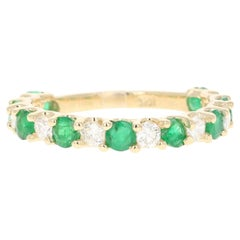 1.54 Carat Emerald Diamond 14 Karat Yellow Gold Band