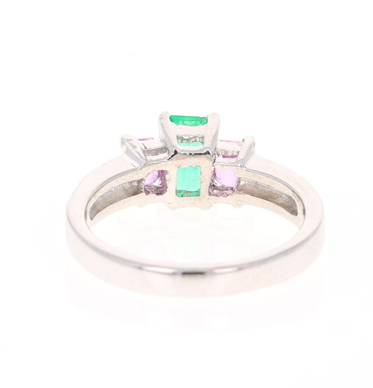 Emerald Cut 1.54 Carat Emerald Pink Sapphire Diamond 14 Karat White Gold Three-Stone Ring For Sale