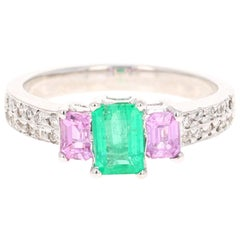 1.54 Carat Emerald Pink Sapphire Diamond 14 Karat White Gold Three-Stone Ring