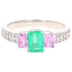 1.54 Carat Emerald Pink Sapphire Diamond 14 Karat White Gold Three-Stone Ring