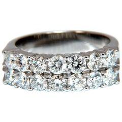 1.54 Carat Natural Diamonds Precision Set Double Row Ring 14 Karat Band