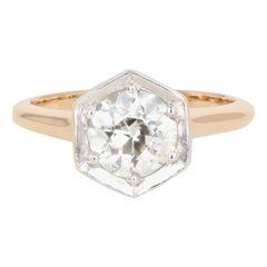 1.54 Carat Old European Diamond Rose Gold Engagement Art Deco Ring