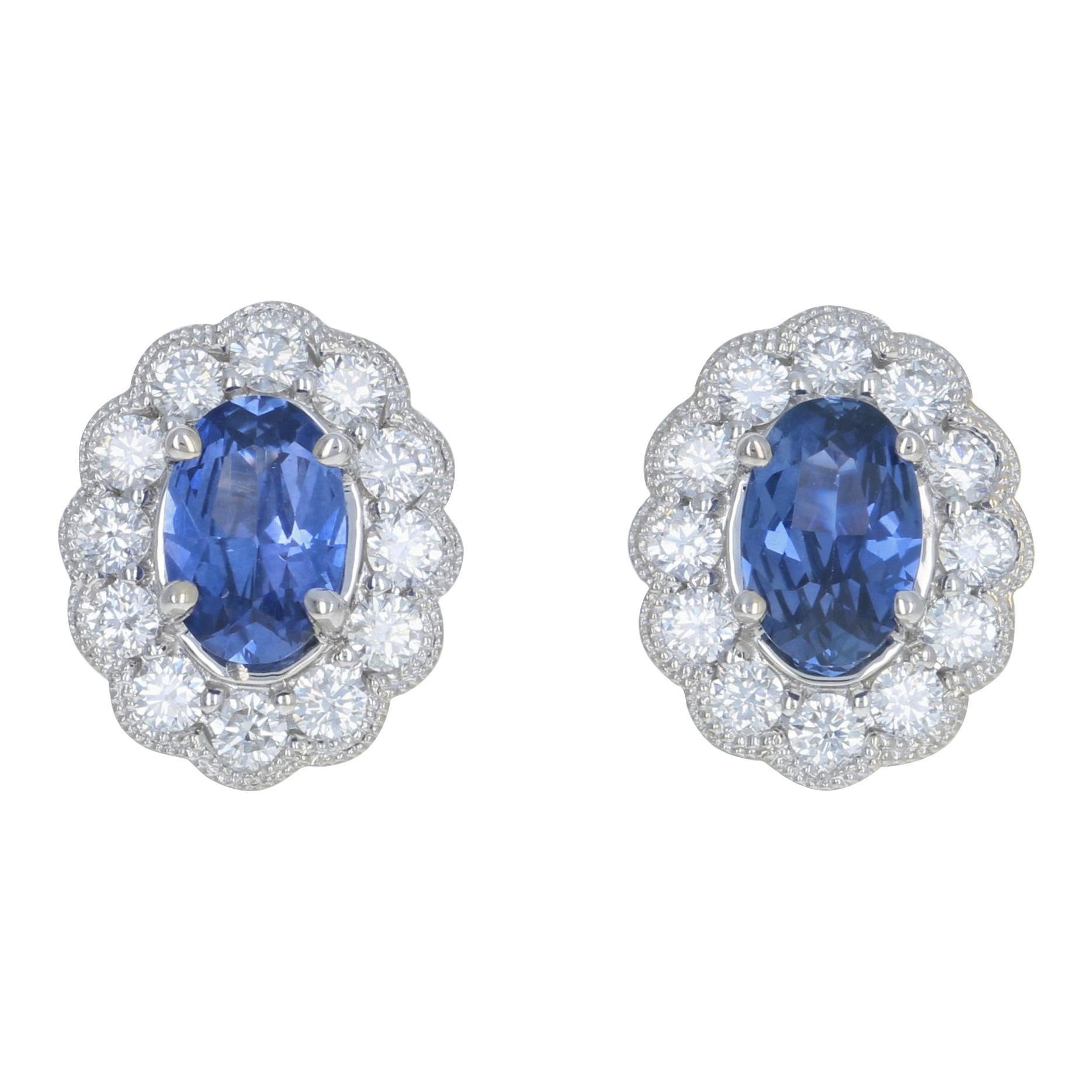 1.54 Carat Oval Cut Sapphire and Diamond Earrings, 14k Gold Pierced Halo Studs