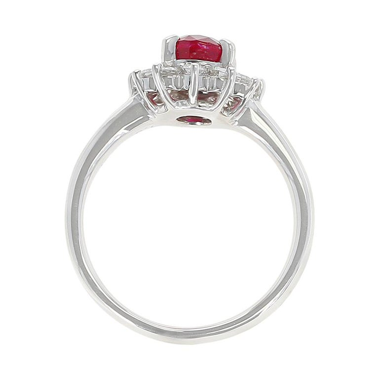 Women's or Men's 1.54 Carat Oval Ruby Engagement Ring with Diamond Halo, Platinum For Sale