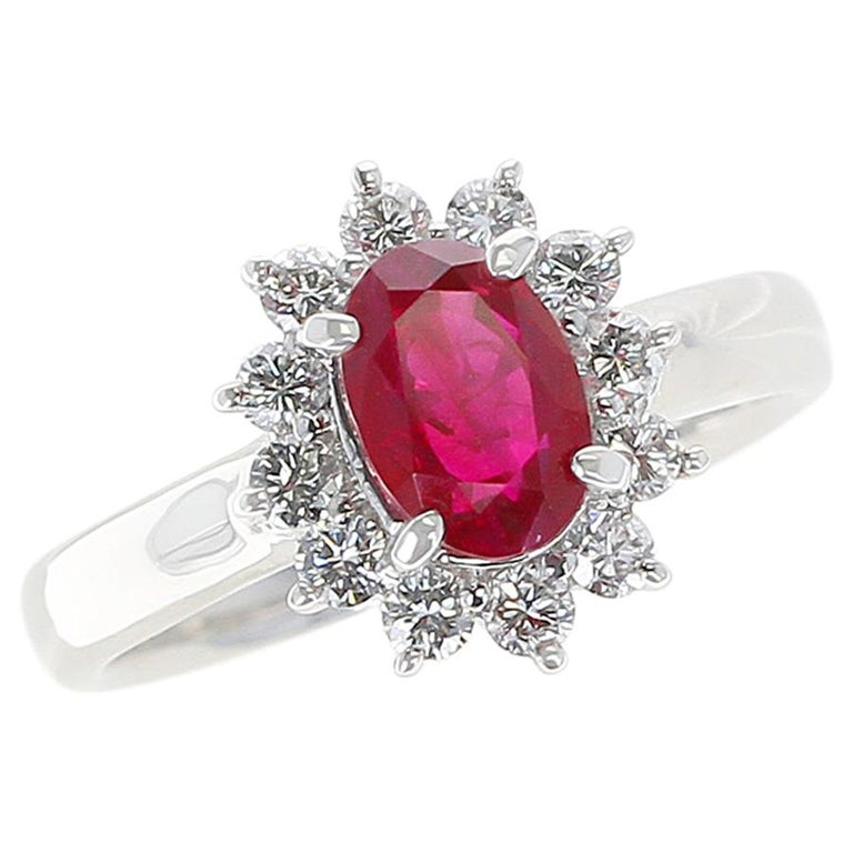 1.54 Carat Oval Ruby Engagement Ring with Diamond Halo, Platinum For Sale