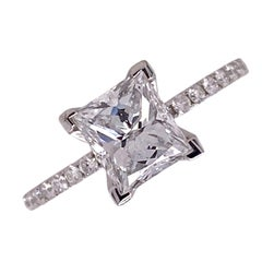 1.54 Carat Radiant Diamond Engagement Ring 18 Karat White Gold Modern GIA D/VVS1