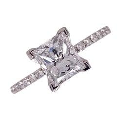 1.54 Carat Radiant Diamond Engagement Ring 18 Karat White Gold Modern GIA D/VVS1