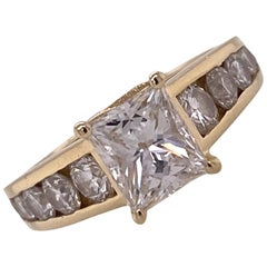 1.54 Carat Radiant Diamond Yellow Gold Engagment Ring D/VVS1 GIA