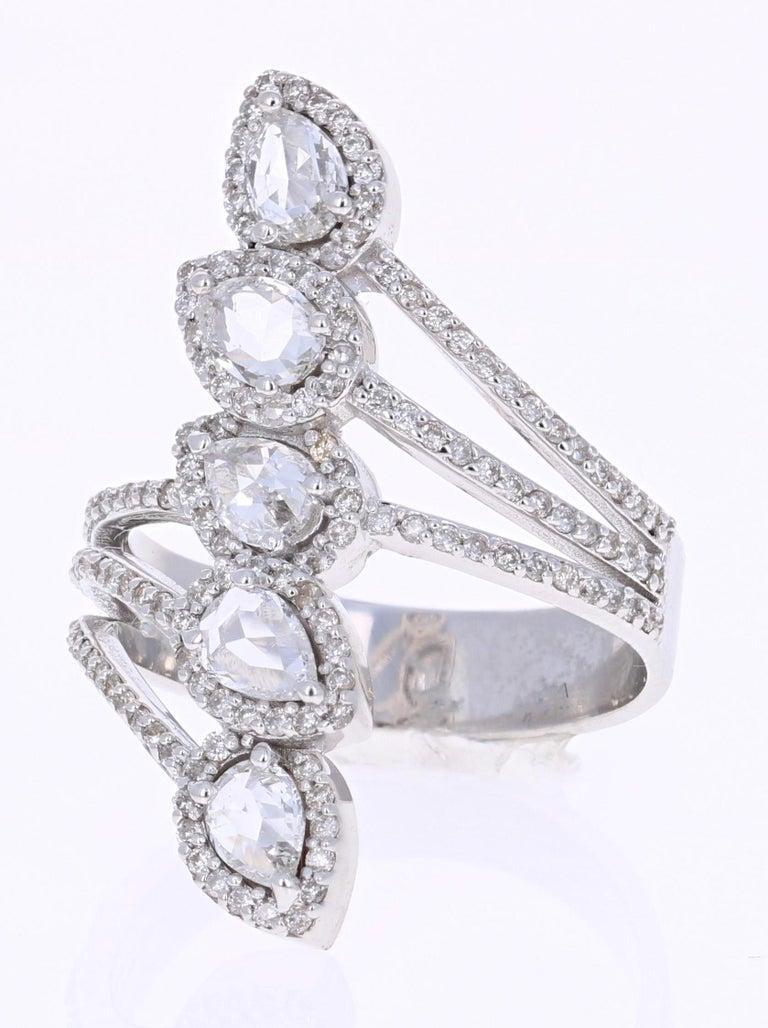 Modern 1.54 Carat Rose Cut Diamond 18 Karat White Gold Cocktail Ring For Sale