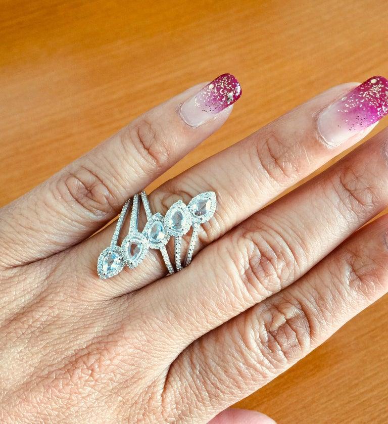 Women's 1.54 Carat Rose Cut Diamond 18 Karat White Gold Cocktail Ring For Sale