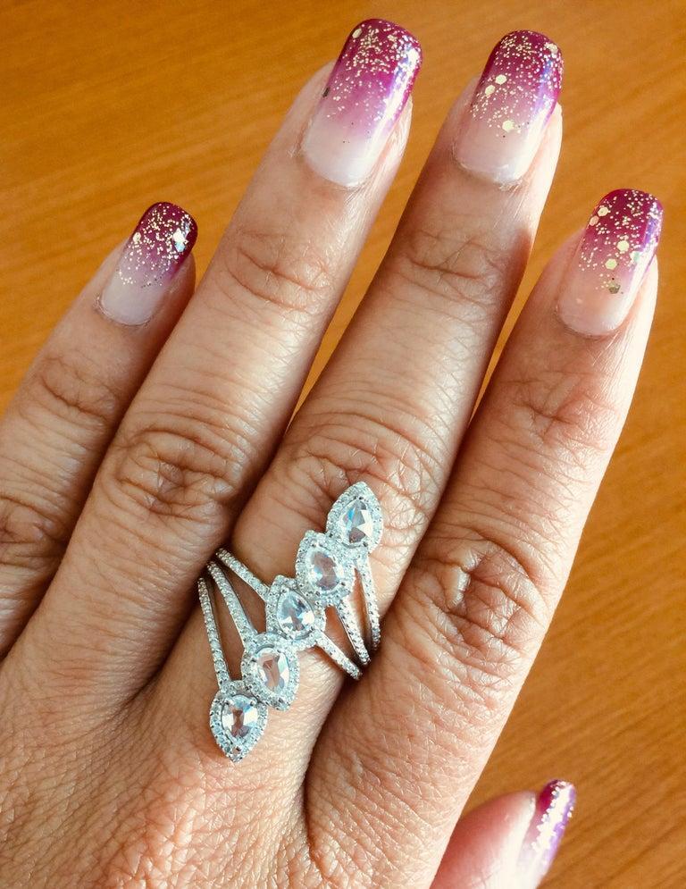 1.54 Carat Rose Cut Diamond 18 Karat White Gold Cocktail Ring For Sale 1