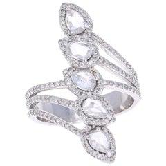 1.54 Carat Rose Cut Diamond 18 Karat White Gold Cocktail Ring