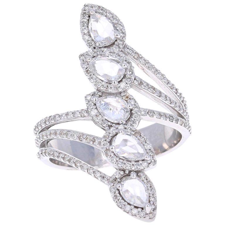 1.54 Carat Rose Cut Diamond 18 Karat White Gold Cocktail Ring For Sale