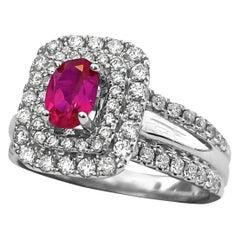 1.54 Carat Ruby Diamond Womens Cocktail Ring in 14 Karat White Gold