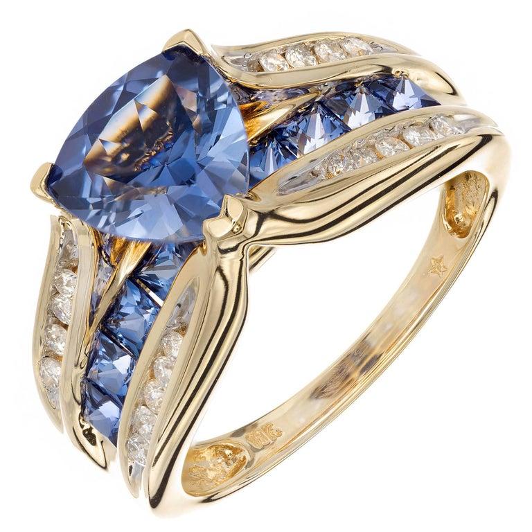 c5f3455be2200 1.54 Carat Tanzanite Diamond Yellow Gold Diamond Engagement Ring