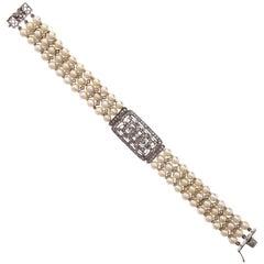 1.54 Carat Three-Row Cultured Pearl Diamond Gold Bracelet