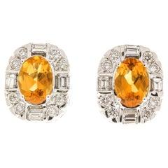 1.54 Carat Total Cushion Cut Citrine and Diamond Earrings in 14 Karat White Gold