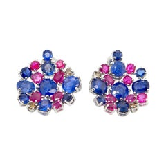 15.4 Carat Unheated Burmese Ruby and Blue Sapphire White Gold Cluster Earrings