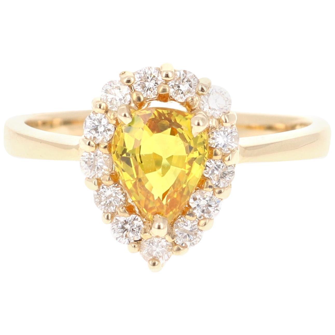 1.54 Carat Yellow Sapphire and Diamond 14 Karat Yellow Gold Ring