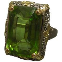15.40 Carat GIA Peridot 18 Karat Filigree Ring